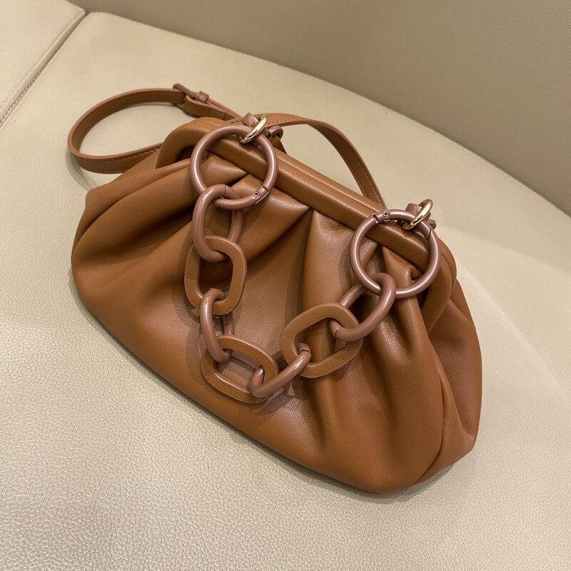 Caker Brand 2020 Women PU Leather Handbag High Quality Acrylic handle bags