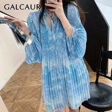 Galcaur принт хит разноцветное платье для женщин с круглым вырезом