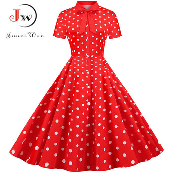 Summer Dress 2020 Women Elegant Vintage Short Sleeve Striped Print Bow Swing Party Office Pin up Dresses Casual Midi Plus Size 5