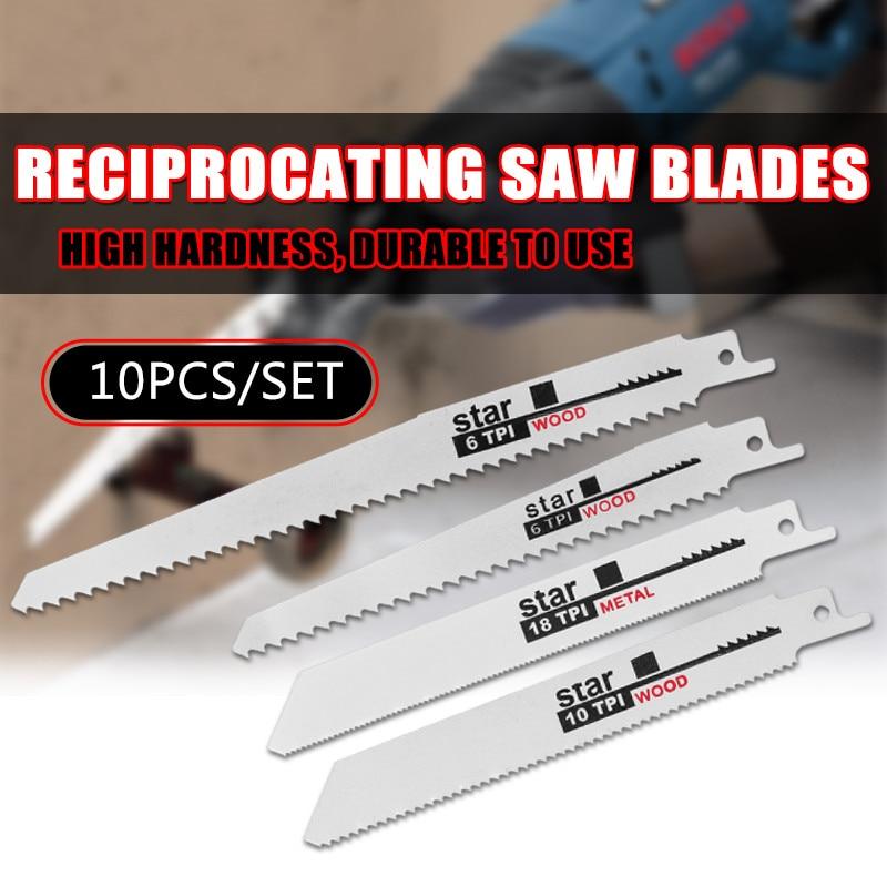 10pcs/Set Saw Blades Set Carbide Woodworking Wood Fibreboard Metal Cutting Reciprocating Saw Blades Power Tools Accessories