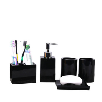 5 Pcs Resin Bath Accessories Set Lotion Dispenser with Pump+Toothbrush Holder+Soap Dish+2 Tumbler Sets UND Sale