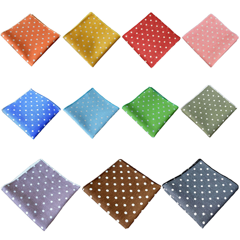 Mens Hanky White Polka Dots Handkerchief Wedding Party Business Pocket Square