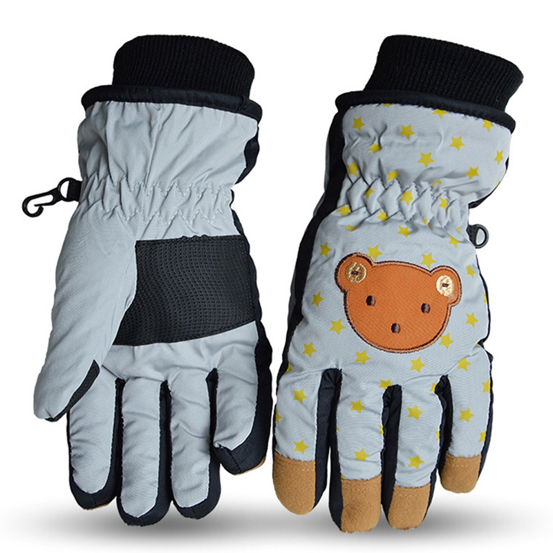 Children's Winter Warm Gloves Windproof Waterproof Warm Finger Gloves Manufacturers Cartoon All-Fing Ski Full Finger Gloves Gray