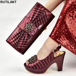 Neue Ankunft Italienische Schuhe mit Passenden Taschen Set Schuhe und Tasche Set Afrikanischen Sets 2019 Nigerian Luxus Sandalen Frauen Schnalle strap