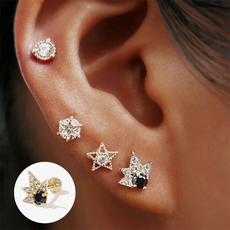 100% 925 Sterling Silver Luxury Bling Piercing Pendientes for Women Lovers' Valentine's Day Cartilage Stud Earrings Fine Jewelry