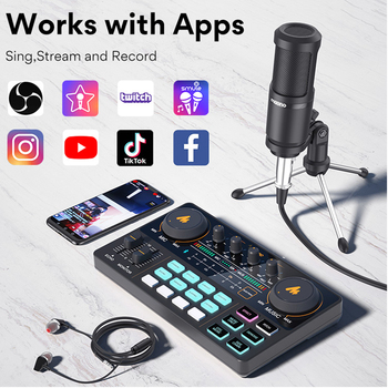 MAONO AU-PM360TR Condenser Microphone 3.5mm to XLR Cardoid Mic With Tripod for Tiktok Podcast Vlog PC Phone Audio Recording 2