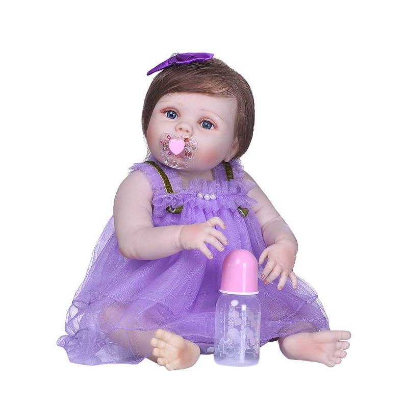 22 pouces pleine Silicone réaliste poupée violet Tulle jupe arc pince à cheveux petite enfance enfants bébé jouets