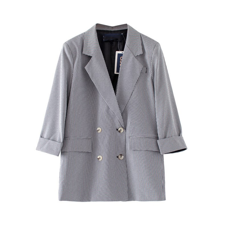 Women Tide Summer Loose Office Lady Blazer Long Casual 3/5 Sleeve 2 Pockets Double-Breasted Coat Outwear