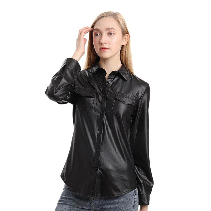 Женская рубашка из искусственной кожи, блуза с длинным рукавом, Женская Полосатая Повседневная рубашка для ночного клуба, элегантная
