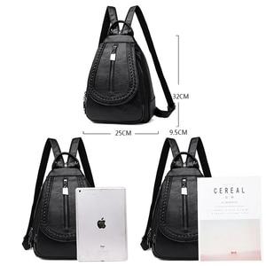 Image 4 - Kadın deri sırt çantaları yüksek kaliteli kadın sırt çantası göğüs çantası rahat günlük çanta kese Dos bayanlar sırt çantası seyahat okul sırt paketi