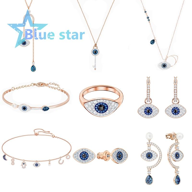 Swarovskis original 1:1 Demon Eye series set jewelry jewelry set eye ring with necklace and bracelet ladies fashion jewelry set