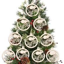 10 Uds 2020 Año de la Rata hueco adornos colgantes de madera de Navidad decoraciones de fiesta de Adornos de árbol de Navidad regalos colgantes