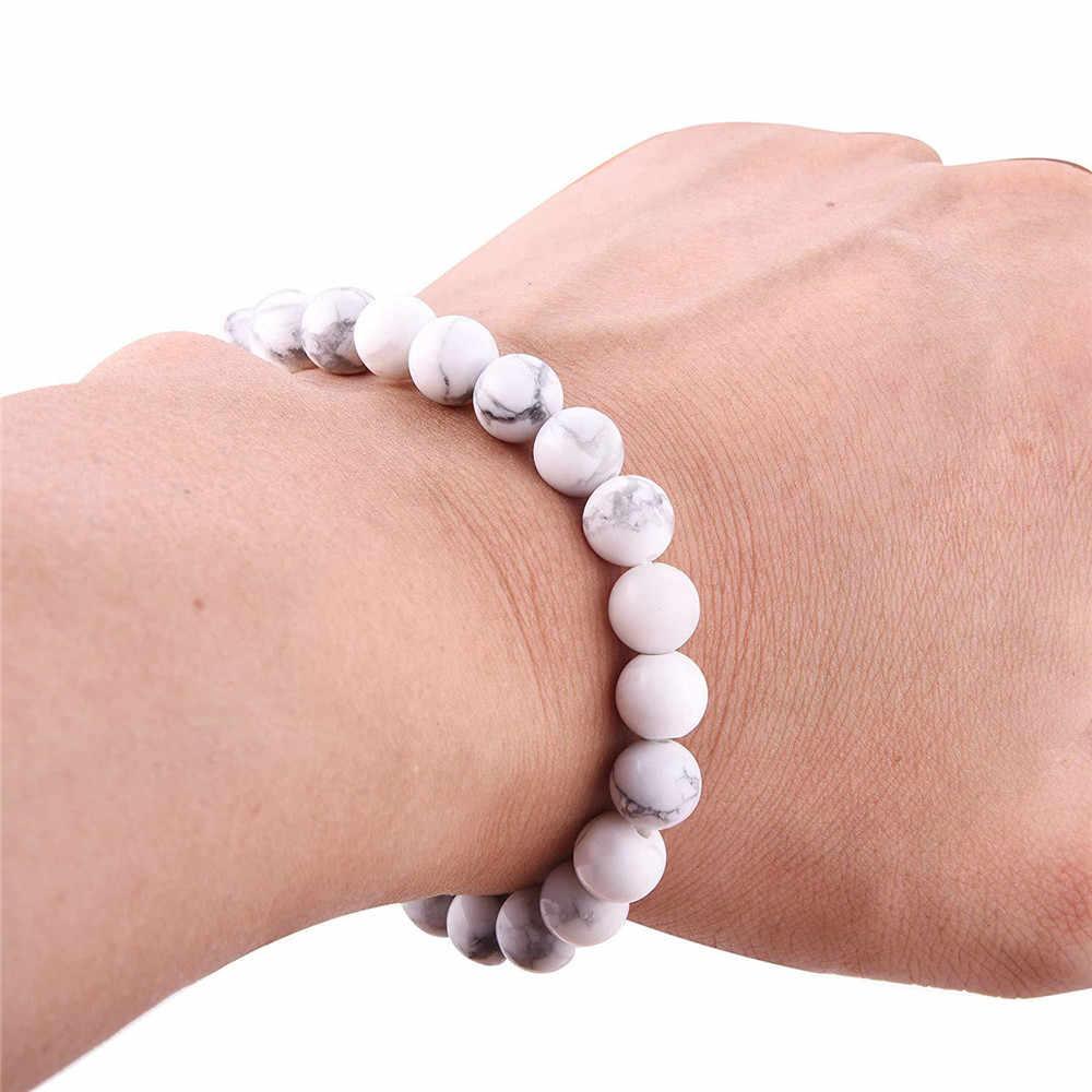 8 มม.สีขาวธรรมชาติ Howlite ลูกปัดสร้อยข้อมือพลังงานหินวงกลมสร้อยข้อมือผู้ชายหรือผู้หญิงโยคะสมาธิ Ruiki เครื่องประดับขายส่ง
