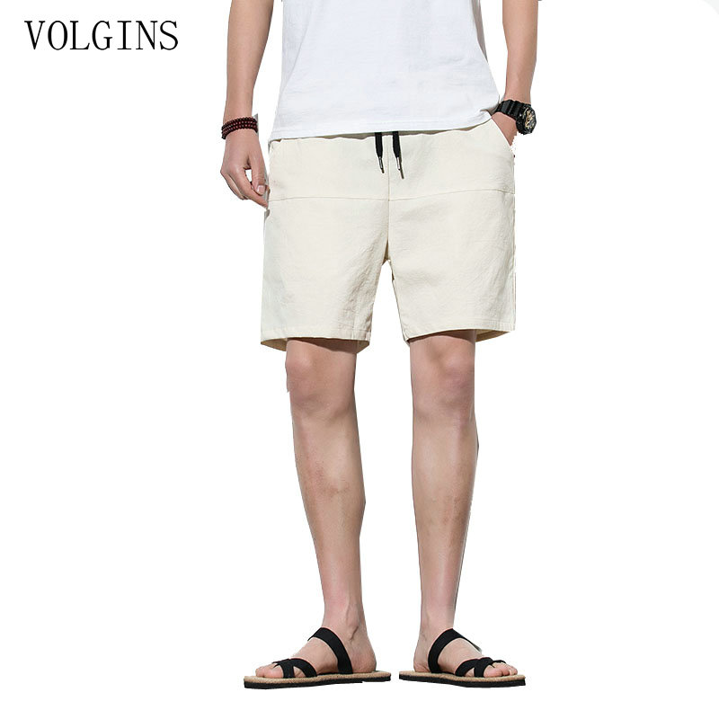 Streetwear Men's Linen Casual Shorts Men Solid Linen Cotton Shorts Casual Beach Shorts Men Plus Size Chinese Style