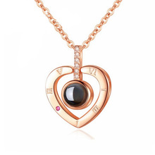 Trend 100 Languages I Love You Projection Rose Gold/Silver Color Heart Pendant Necklace Clavicle Cha