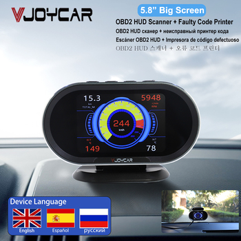 Vjoycar V70 2021 New OBD2 HUD Gauge On-board Computer Digital Security Alarm Scanner Display All Car Engine Data Since 1996