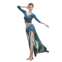 Sexy Women Mesh Belly Dance Costume Set Top Folds Bra High Split Long Skirt Bellydance Clothes Contrast Color Skirt Dancewear plus contrast binding split side belted top