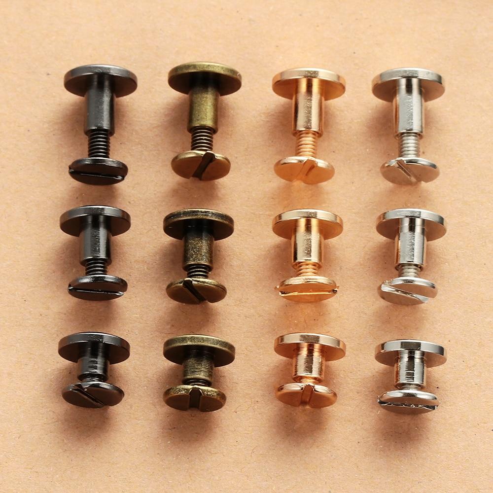 Brass Nail Round Head Screws Leather Craft Garment Rivets Double Cap Screw