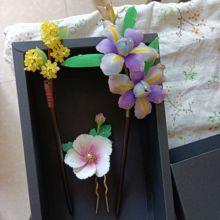 Ornament LALAVARA Chinese-Kanzashi Hairpin Kimono-Head Handcrafted Fu Rosea Althaea of