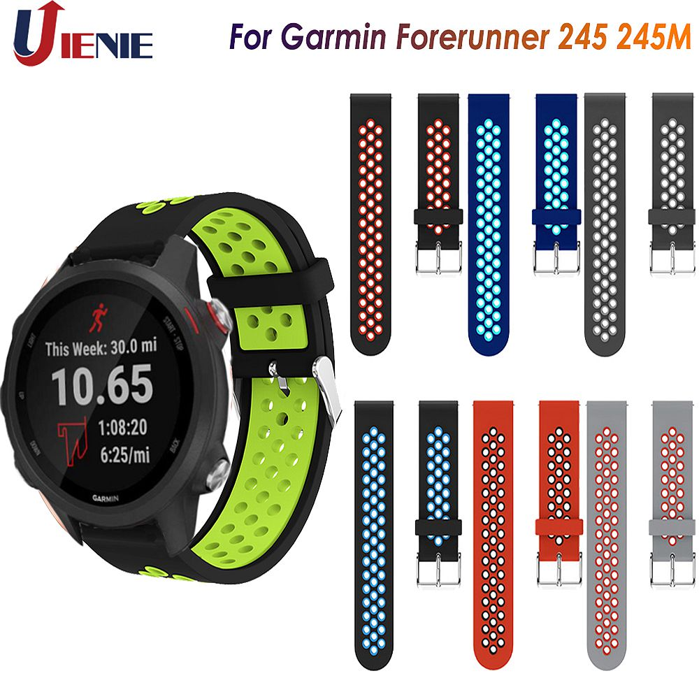 20MM Silicone Strap Watchband For Garmin Forerunner 245 245M 645 Vivoactive 3 Smart Wristband Colorful Replacement Bracelet Band