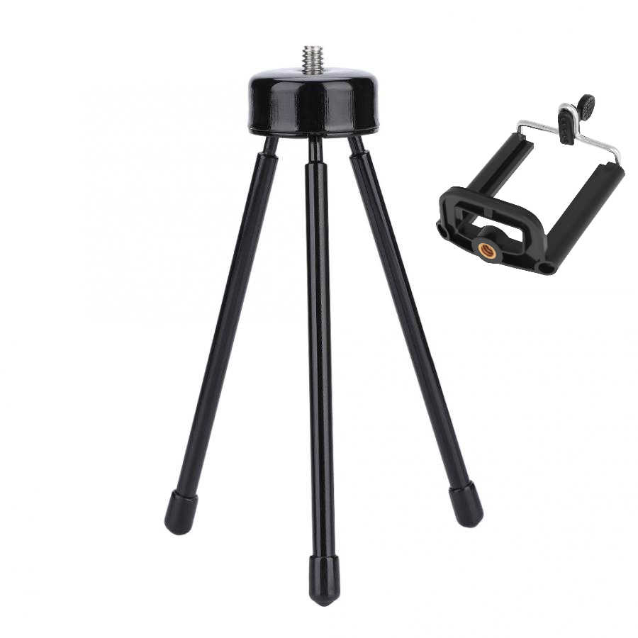 Mini Metal Tripod Collapsible Tabletop Tripod Stand for Photo Selfie Universal Support Phone DV SLR Cameras with 1/4 Screw
