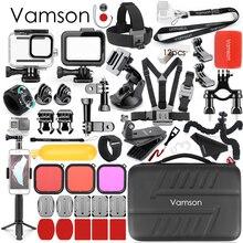 Vamson für Go Pro Zubehör Kit Wasserdichte Gehäuse Fall für GoPro Hero 8 Schwarz Kamera Stativ Halterung für GoPro 8 schwarz VS20