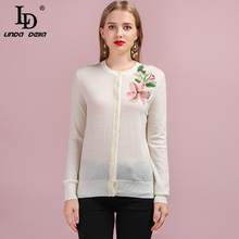 LD LINDA DELLA Runway Fashion Autumn Knitting Sweaters Womens Long Sleeve Appliques Elegant Casual Lady White Wool Cardigans