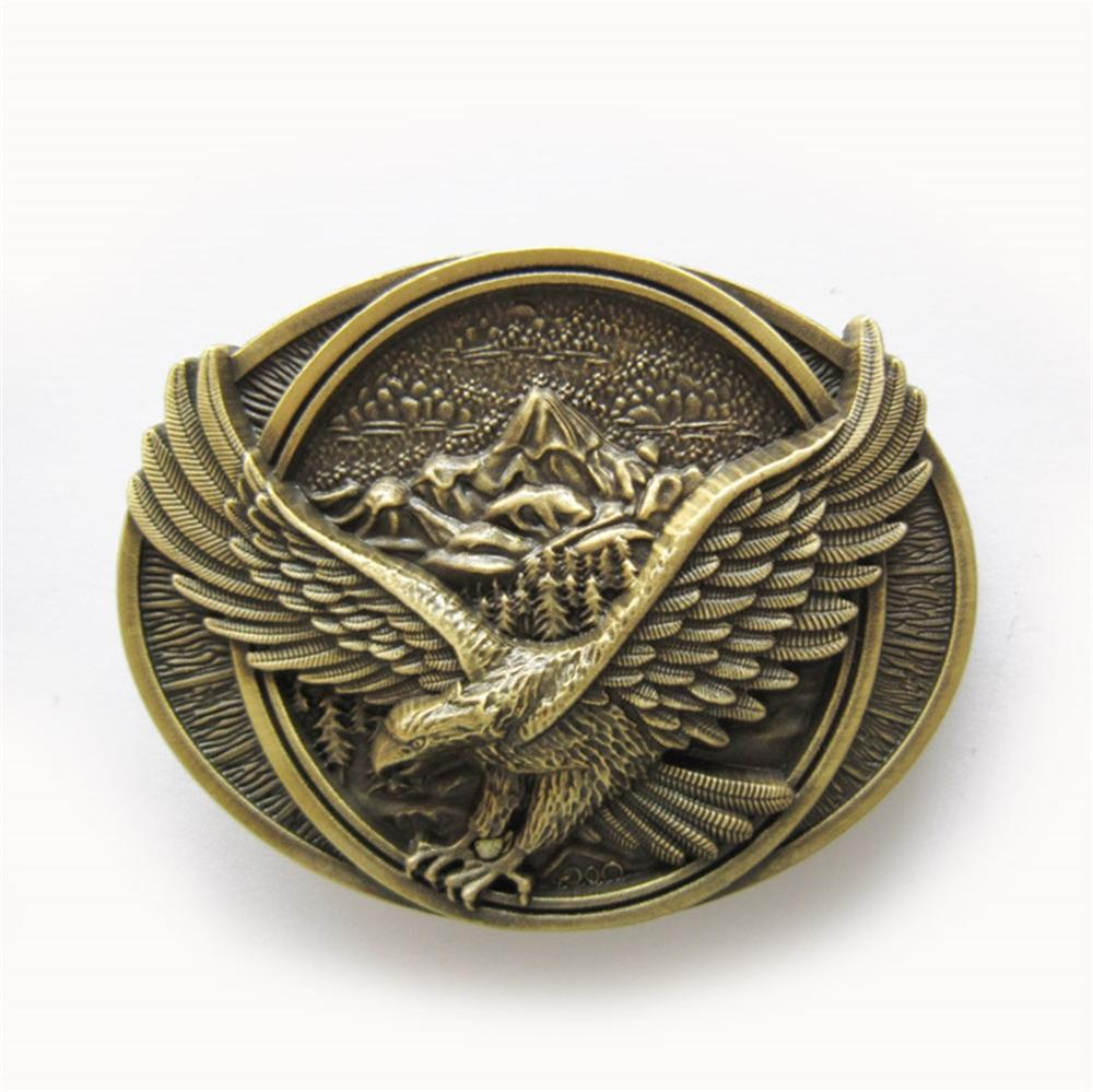 Retro Western Cowboy Silver Bronze Eagle Oval Belt Buckle Metal Jewelry For Mens