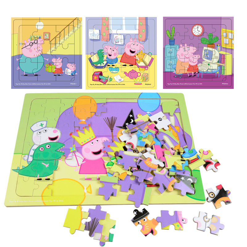 Peppa Pig Kids Wooden Puzzles Toys Kid's Babies Early Education Puzzle Figure Toys Jigsaw Puzzle Gifts Toys For Children 15*15cm