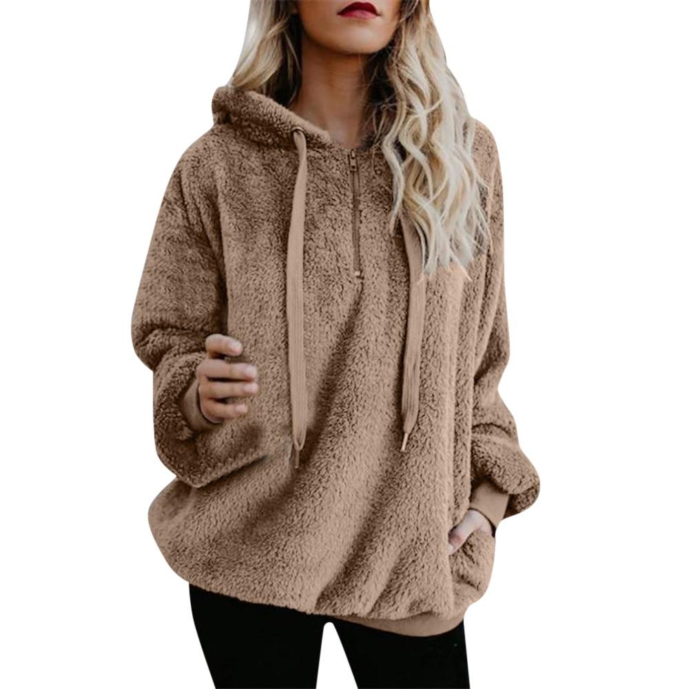 2019 Women Hooded Sweatshirt Coat Long Sleeve Hooded Fleece Sweatshirt Autumn Winter Thicken Warm Zip Up Hoodie Pullover