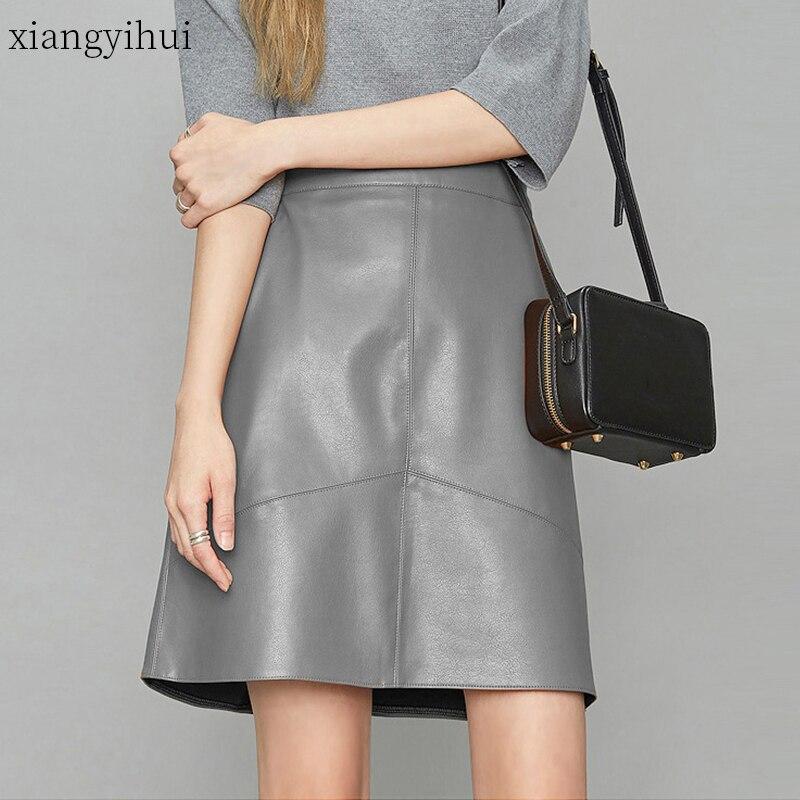 Autumn Winter Grey Genuine Leather Skirt  Women Black Real Sheepskin High Waist Pocket Mini Skirt Female Sexy Plus Size Skirts