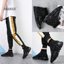 2019 Fashion High Top Casual Breathable Shoes Flats Men Casual Platform sneakers  Men Sock Walking Footwear zapatos hombre 2018 men casual shoes knitting soft breathable high top sock sneakers men summer flats shoes