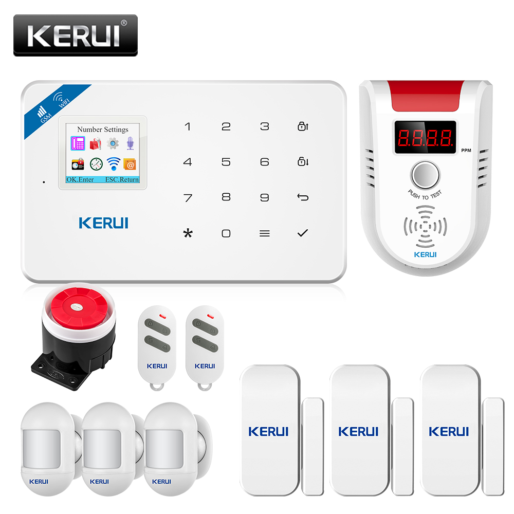 Security Alarm Siren System KERUI W18 Home Security Alarm System Mobile APP Receiving GSM WIFI Connection Color Screen Wireless