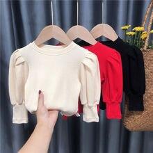 2021 Baby Kleinkind Teenager Mädchen Pullover Tops Frühling Herbst Lange Puff Sleeve Strick Kinder Pullover Für Mädchen kinder Kleidung