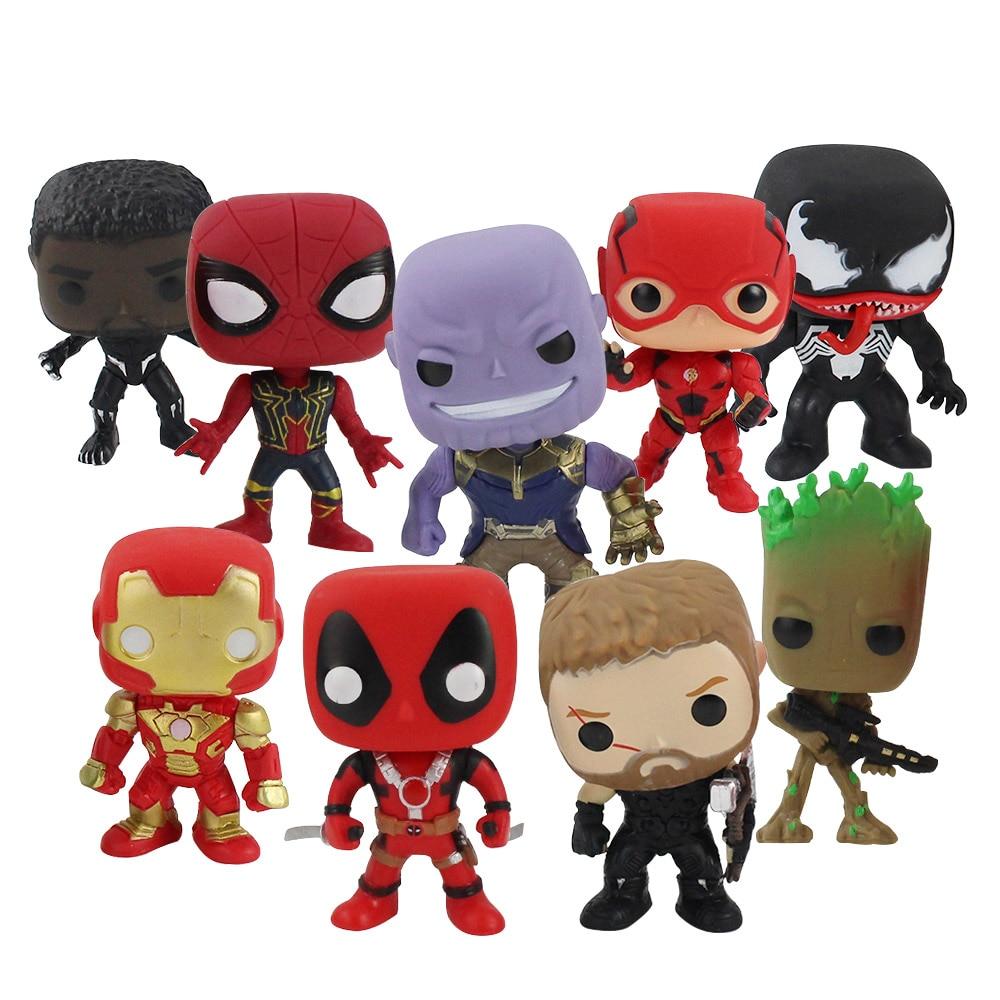 Figurines Avengers Infinity War Thor Deadpool, Black Panther Spiderman Venom Thanos, jouets en PVC, super héros Q Version 9-10-14cm