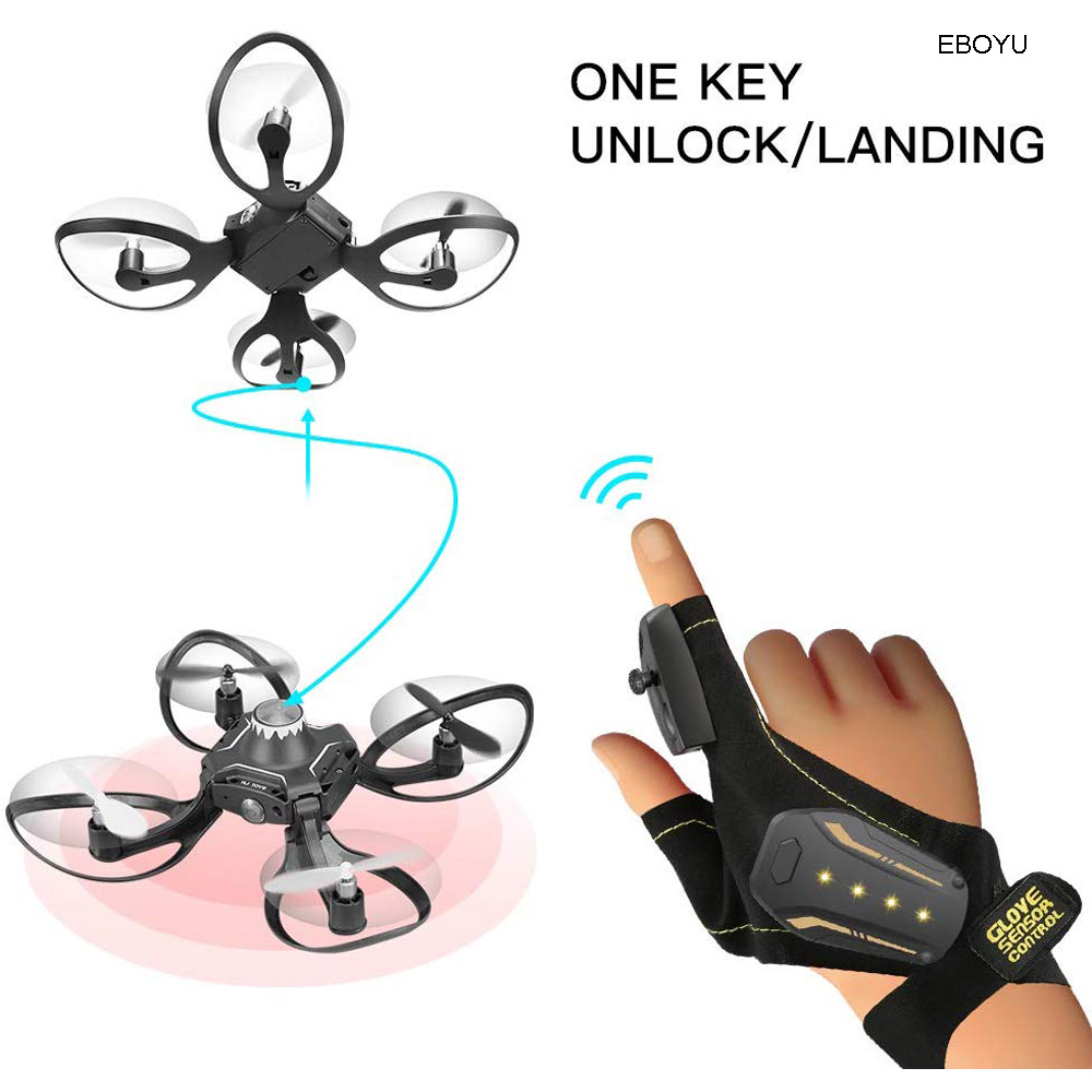EBOYU 2.4G Glove Control Interactive RC Drone w/ Alitude Hold Gesture Control RC Quadcopter Drone for Beginners