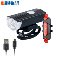 USB Rechargeable Bicycle Light LED Mountain Cycle Front Bike Light And 3 Color taillight Waterproof Flashligh Bicycle Lamp  Set 1