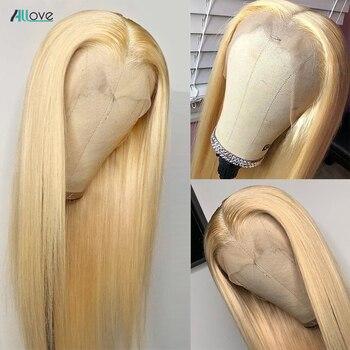 Парик Allove блонд, человеческие волосы Hd, прозрачные парики на сетке 13x4x613, парик на сетке спереди, парик блонд из человеческих волос, перуански...