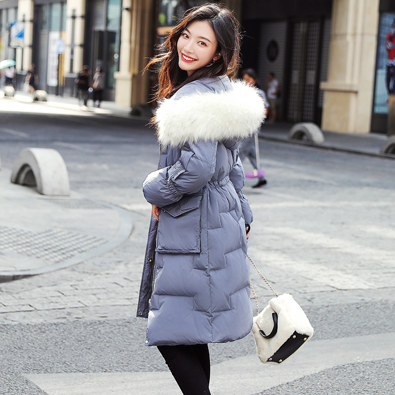 Women Winter Down Jacket Long Down Coat Female Large Fur Hooded Warm Clothes Thick Slim Jacket Ladies Overcoat Hiver 9002