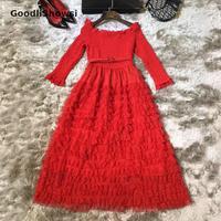 GoodliShowsi Retro Ball Gown Dress Slash Neck Sexy Backless Agaric Design Elegant Women's Formal Dress Princess Lolita Dresses