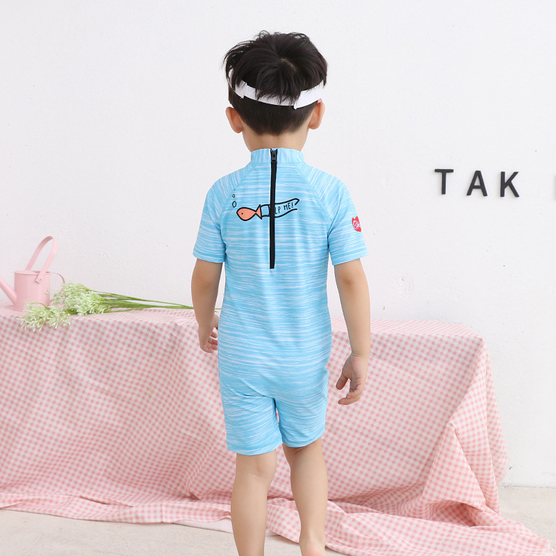 KID'S Swimwear BOY'S Cartoon Printed Ultra-stretch Half Sleeve One-piece Diving Suit Infants Cute Male Baby Swimming Suit