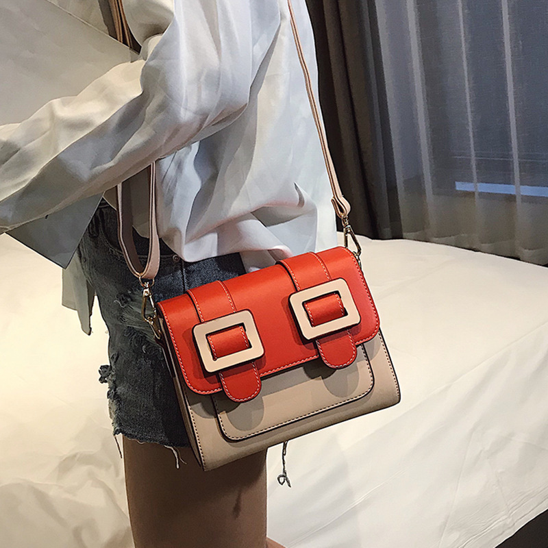 Fashion Vintage Women Pu Leather Handbag Female Shoulder Crossbody Bags Ladies Top handle Bag Spell Color Tote Messenger Bags in Top Handle Bags from Luggage Bags