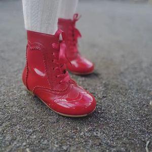 2020nuevas botas de cuero de princesa Retro españolas botas cortas zapatos de cuero de bebé botas de niñas botas de niño niña Zapatos de vestir de boda