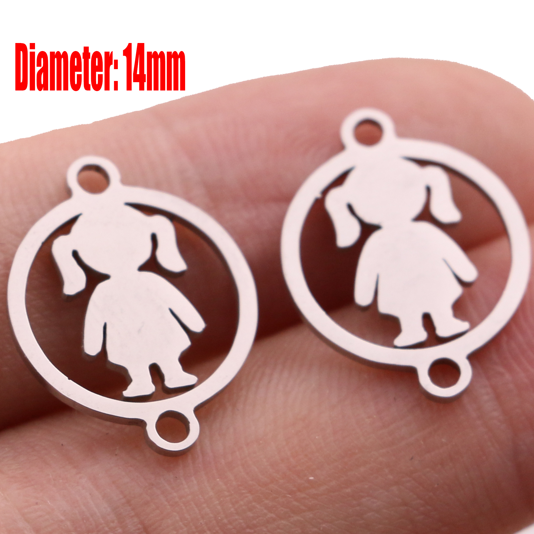5pcs Family Chain Stainless Steel Pendant Necklace Parents and Children Necklaces Gold/steel Jewelry Gift for Mom Dad New Twice - Цвет: Steel 14
