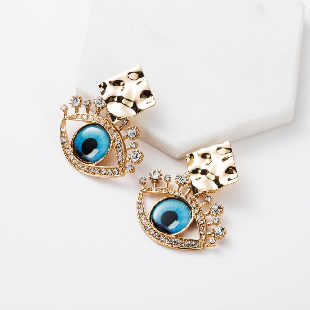 New Hyperbole Rhinestone Eyes Dangle Earrings for Women Boho Personality Big Statement Earring Pendant fashion jewelry Hot Sale in Drop Earrings from Jewelry Accessories