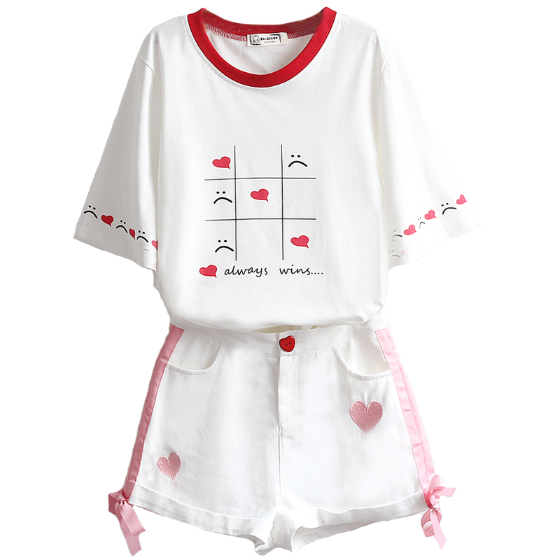 Summer 2 Pieces Sets Outfits Women White Cotton T-shirt  Demin Skirt Suit Sweet T-shirt +Heart Embroidery Mini Skirt Clothes