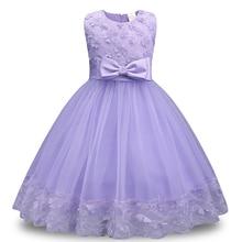 купить Sleeveless Children's Dress Flower Bow-knot Summer Fashion Wedding Dress Party Princess Dress Round Neck Dress Girl Best Gift дешево