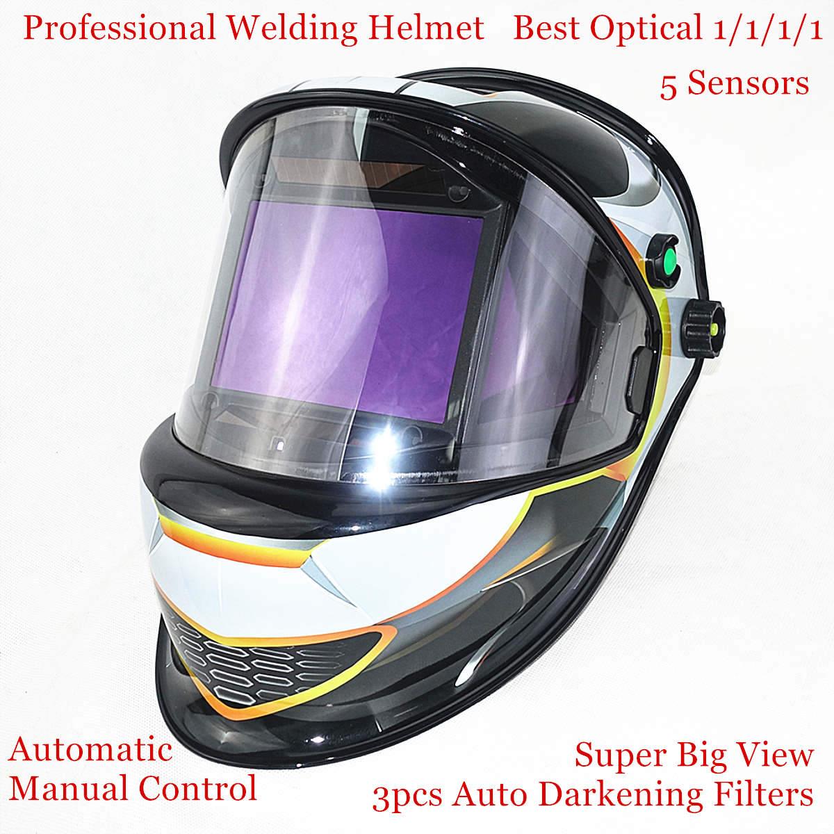 Auto Darkening Welding Mask 3 Filters View Size 115x85mm DIN 4-14 Optical 1111 5 Sensors CE ANSI CSA AS/NZS Welding Helmet