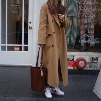Korea Women Autumn Winter Double Breasted Long Wool Coat Ladies Long Sleeve Notched Collar Overcoat