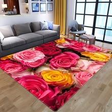 Коврик с 3D принтом в виде роз, разноцветная розовая Свадебная красная дорожка, противоскользящий ковер для гостиной, большой домашний коври...